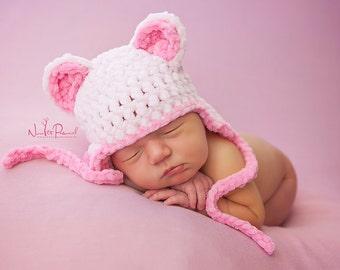 Hand Crochet Baby Hat  Ear Flap Teddy Bear Chunky Photography/Photo Prop Newborn-12 Months Ultra Soft  Baby Girl UK Seller Pink