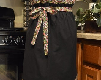 Oriental Style Half Apron, Fully lined Apron, Ready to Ship