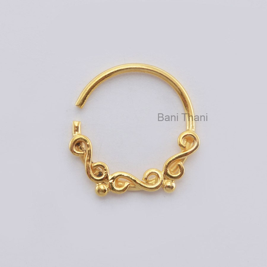 handmade gold plated 925 sterling silver nose ring by