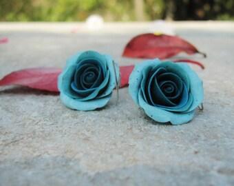 Dark blue and turquoise rose earrings, handmade rose earrings, silver 925o earrings, blue polymer clay rose earring, handmade blue turquoise