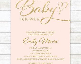 pink gold baby shower invitation, pink gold glitter baby shower invite, pink gold baby shower