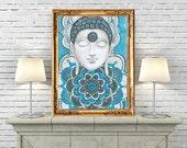 Buddha wall art , Buddha Mandalas Painting, Teal Navy Blue Buddha Wall Decor, Mural Buddha Art, Inspirational Spiritual Zentangle Art