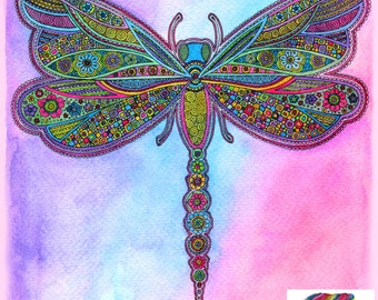 Jewelled Dragonfly Doodle Print