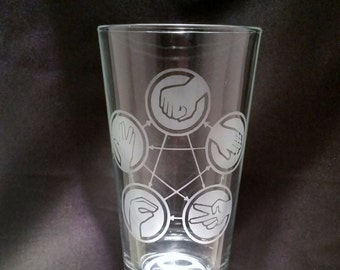 Rock Paper Sissors Lizard Spock Etched Pint Glass Funny Geek Pint Glassware Big Bang Theory Inspired Etched Pint Glass