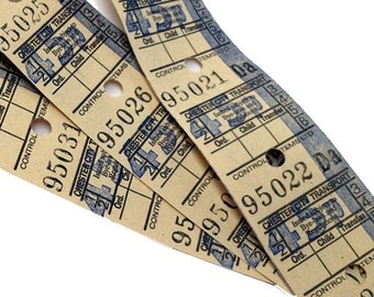 Vintage British Transport tickets, ticket width 30mm, listing is for 12 tickets.