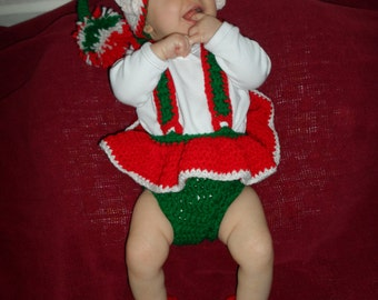 Santa's Little Helper Baby Girl Handmade Crocheted Elf Outfit/Baby Christmas Outfit/ BabyPhoto Prop
