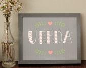 Uffda 8X10 Art Print in Coral / Grey / Green
