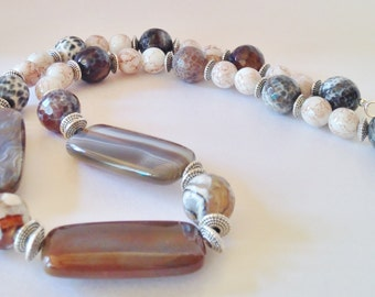 SALE - Brown Agate Necklace Botswana Agate Beaded Necklace Indian Style Necklace Unique Gift For Her Statement Necklace Tribal Jewellery