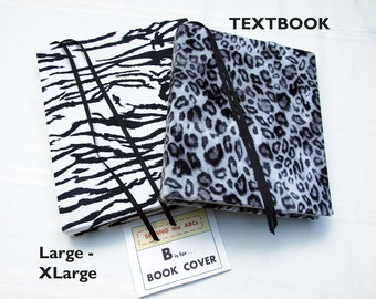 Textbook Cover LEOPARD Large to X Large, Stretch Fabric Book Cover, Back to School Supplies, Premade Book Cover, Removable Book Cover