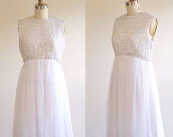 Short wedding dress- White wedding dress- Beaded wedding dress- Empire wedding dress- White prom dress- Short formal dress- Medium