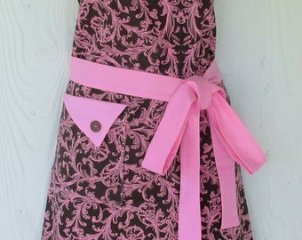 Brown and Pink Damask Apron, Retro Style Full Apron, Vintage Inspired, KitschNStyle