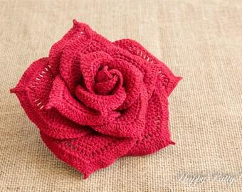 Large Crochet Rose Flower - Centerpiece Crochet Flower - Bouquet Flower Applique - Floral Home Decoration - F105