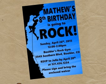 Rock Wall Climbing Birthday Party Invitation Invite - Any COLOR - Digital or Printed