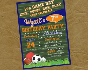 SPORTS Birthday Party Invitation - Digital or Printed