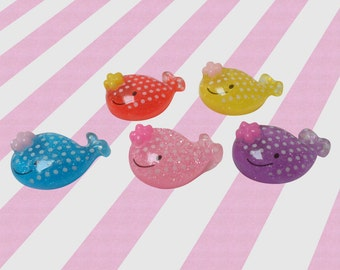22mm Kawaii Whale Decoden Cabochons - 10pc set
