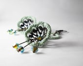 Mint and chocolate - Boho dangle earrings -