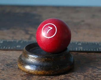 "1968 Miniature Billiard Ball Numbered 1.5"" Red Burgundy Maroon Lucky 7 Twelve White Old Pool Set Paper Weight Man Cave Vintage Small Present"