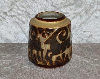 Lovely vintage ceramic Vase with stylized relief. Designed by Marianne Starck for Michael Andersen & son, Denmark Scandinavian.