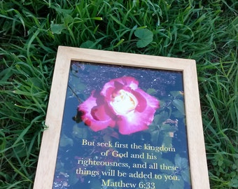 Bible scripture art, flower art, matthew 6 33, framed picture, But Seek First The Kingdom Of God And His Righteousness