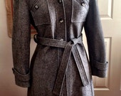 RESERVED FOR LISETTE!!     Stunning Heather Grey Belted Wool Coat with detachable Cowl
