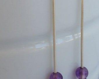 Sterling silver minimalist earrings with amethyst beads