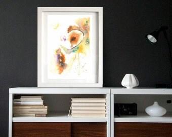 Owl Original Abstract Watercolor Painting Art Print, Home Decor, Wall Art, House Warming Gift, Modern Art, Woodland Art Print