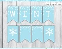 Winter Onederland Banner / Blue Winter Onederland Banner / Winter Wonderland Banner / Winter Onederland Decoration / Winter Printable