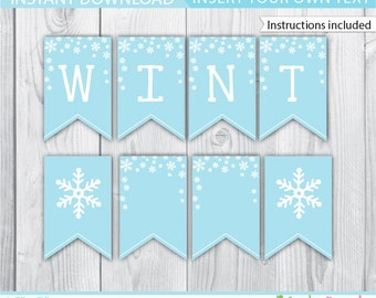 Winter Onederland Banner / Blue Winter Onederland Banner / Winter Wonderland Banner / Winter Onederland Decoration / Winter Printable