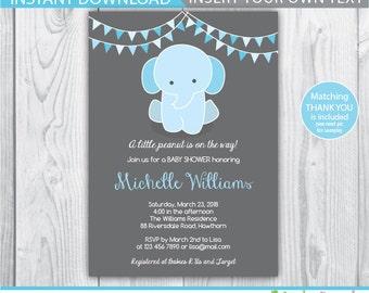 baby elephant invitation / elephant baby shower invitation / baby shower elephant invitation / blue elephant baby shower / INSTANT