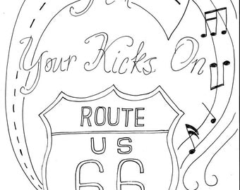 Vintage Style Doghouse Trailer Cer With Wings Route 66 Coloring Pages