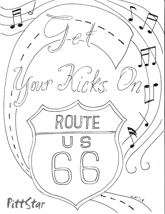 Instant Download Route 66 Printable Adult Coloring Page Route 66 Coloring Pages