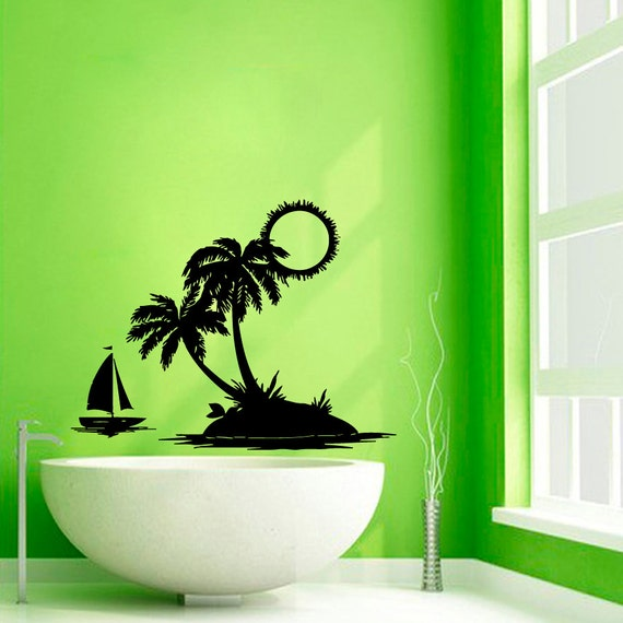 palm tree wall decals sun beach trees bath palms vinyl sticker. Black Bedroom Furniture Sets. Home Design Ideas