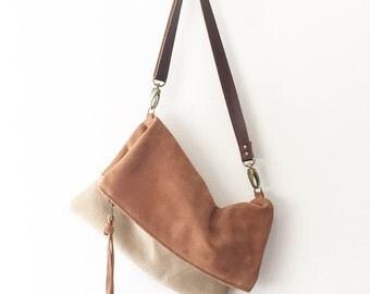 Foldover Suede Crossbody Bag // Brown