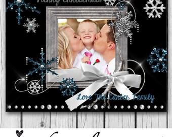 CHRISTMAS CARD - 6 x 7.5 - Snowflakes, Snow, Blue, Silver, White, Diamonds, Jewels, Photo Christmas Card, Merry Christmas, Happy Holidays