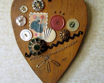 Heart Art Found Object Wall Art wall hanging mixed media whimsical art decoupage folk art picture wood vintage buttons beads bubbles