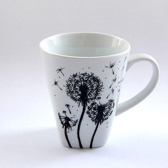 Custom flowers mug coffee cup tea mug handmade floral design for Cool tea cup designs