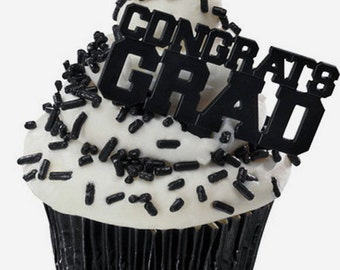 24 Black Congrats Grad Cupcake Picks Graduation Party Supplies Cake Toppers