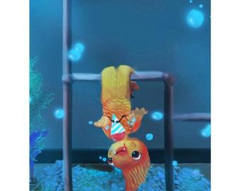 "Print of ""Goldfish Love Snowcones"" illustration"