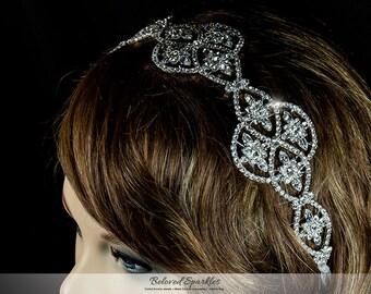 Art Deco Swarovski Crystal Bridal Headband Hair Tie,Vintage Crystal Cluster Headband, Bridal Crystal Hair Tie Wedding Crystal Forehead Chain