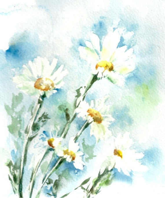 Watercolor painting art print daisy flowers by canotstopprints for Abstract watercolour flowers