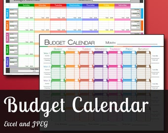 Colorful Budget Calendar Pack - Print and Excel File