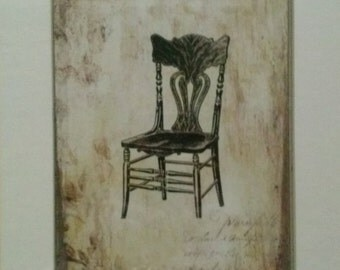 Victorian Harp Back Chair Drawing Vintage Sepia Print Matted Artwork For Home Decor