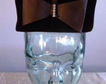 Vintage Linda Farrell Women's Brown Velvet & Rhinestone Early 60's Pillbox Hat