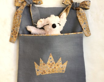 Grey linen and mustard crown Cot tidy