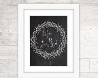 Quote printable, inspirational print, Life Is Beautiful Chalkboard, INSTANT DOWNLOAD - 8x10, 5x7, 4x6