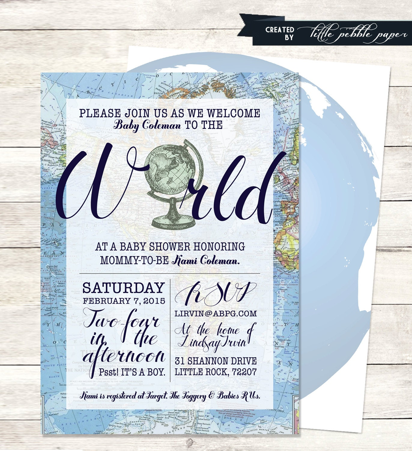Blue Wel e to the World Baby Shower Invitation Printable