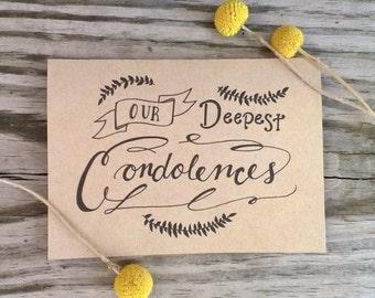 Rustic Hand Drawn Condolence Card, Sympathy Card, Thinking of You Card