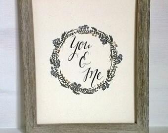 "8x10 inch ""You & Me"" Art Print, Art Print Wedding Gift"