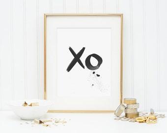 Black ink typography art print - XO