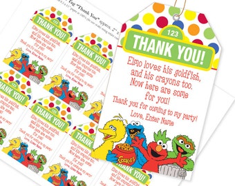 EDITABLE Name PDF Sesame Street Favor Tag  / Thank YouTag / Elmo loves his goldfish and crayons too / Instant Download